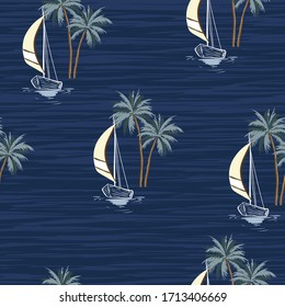 Hand drawn summer sail boat with palm trees isaland seamless pattern in vector EPS10 ,Design for fashion,fabric,web,wallpaper,wrapping and all prints on monotone blue ocean  background color