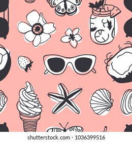 Hand drawn summer seamless pattern with coconut, sunglasses, ice cream, shell and other. Tropical vector background. Artistic doddle drawing. Creative ink art work. Fashion illustration objects
