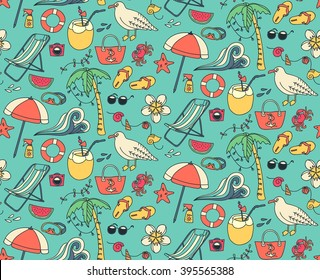 Hand drawn summer time theme seamless pattern. Beach theme background with summer elements. Vector illustration.