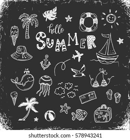 Hand drawn summer vacation doodles set on a blackboard.