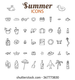 Hand drawn summer vector icon set. Beach icons collection. Vacation. Vector illustration