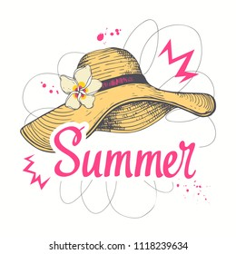 Hand drawn summertime fashion illustration: lady straw hat. Isolated vector art element on white background in sketch style.