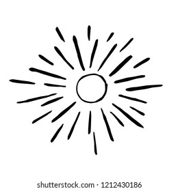 Hand drawn sun in childish style. Vector flat illustration.