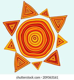 Hand drawn sun in ethnic style, vector illustration