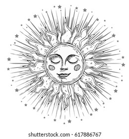 Hand drawn sun with face and starburst stylized as engraving. Can be used as print for T-shirts and bags, cards, decor element. Vector astrology symbol