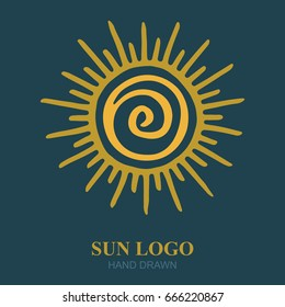 Hand drawn sun illustration. Sun logo or icon design template.