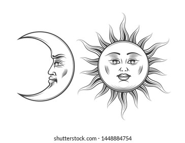 Hand Drawn Sun and Moon with human cartoon faces in engraving style. Medieval Esotric Astrology symbols. Vector Illustration.