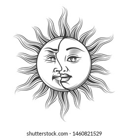 Hand Drawn Sun and Moon with human faces in engraving style. Medieval Occult Astrology symbol. Vector Illustration.