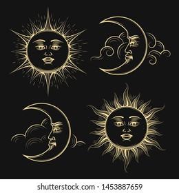 Hand Drawn Sun and Moon Medieval Esotric Astrology symbol set on black background. Vector Illustration.