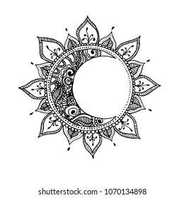 Hand drawn sun and moon. Zentangle sun and moon. Vector illustration made by trace from sketch.