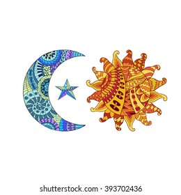 Hand drawn sun, new moon and star for anti stress colouring page. Pattern for coloring book.  Illustration in zentangle style. Monochrome variant. Ethnic background.