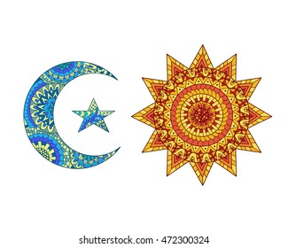 Hand drawn sun, new moon and star. Ornamental symbols of day and night.