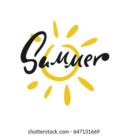 Hand drawn sun vector illustration with Summer calligraphy. Modern lettering. Festive vector background for decorative design. Easy for stickers, wrapping, prints and many more.