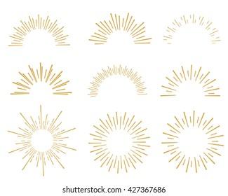 hand drawn sunbursts color gold, vector illustration, graphic design, collection set