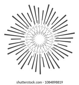 hand drawn sunbursts and frame, vector illustration, graphic design