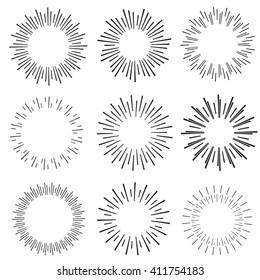 hand drawn sunbursts, vector illustration, graphic design, creative