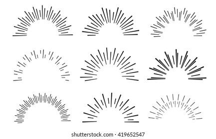 hand drawn sunbursts, vector illustration, graphic design, collection set, creative
