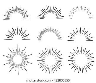 hand drawn sunbursts, vector illustration, graphic design, collection set