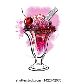 Hand drawn sundae whipped cream Illustration with fruits and berries. Watercolor and sketch vector illustration.