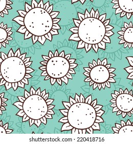 hand drawn sunflower pattern. vector doodle seamless pattern with sunflowers for wallpaper, web page background, surface textures, textile, baby shower, scrap book