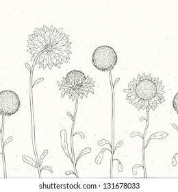 Hand drawn Sunflowers background. Seamless Vector illustration