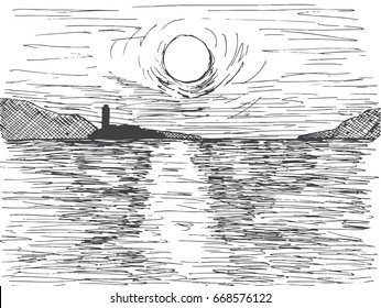 Hand drawn sunset sun over the sea. On the horizon is a mountain and a lighthouse. Vector illustration of a sketch style.