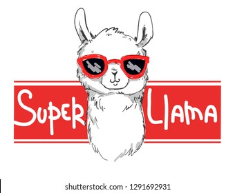 Hand Drawn Super Llama vector  illustration. Print design