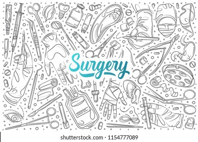 Hand drawn surgery set doodle vector background