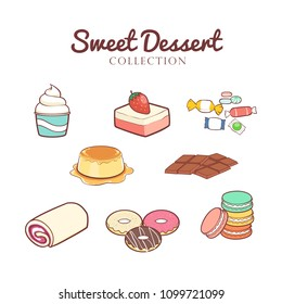 Hand drawn sweet desserts collection