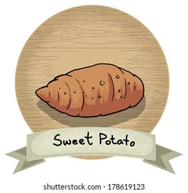 Hand drawn sweet potato icon, with a name and wooden background, vector illustration