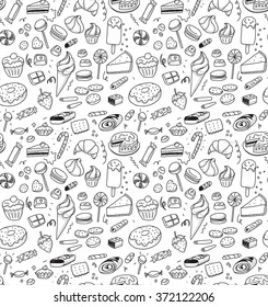 Hand drawn sweets and candies pattern. Vector doodles. Isolated food on white background. Seamless texture. Ice cream, cake, donut, etc. Black and white.