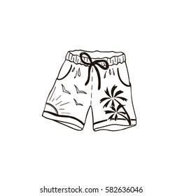 Hand drawn swim shorts. Beach accessory icon in sketch style.