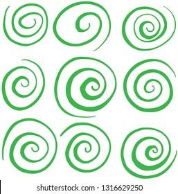 Hand Drawn Swirl Circle Green Vectors