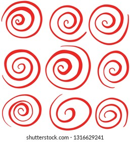 Hand Drawn Swirl Red Circle Vectors