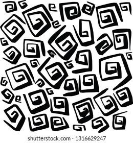 Hand Drawn Swirl Squares Vectors