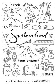 Hand drawn Switzerland illustrations. Outline Switzerland symbols: mountains, watch, chocolate, bank finance. Traveling icons