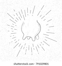 Hand Drawn Symbol of Cow Udder - Doodle Vector Hatch Icon