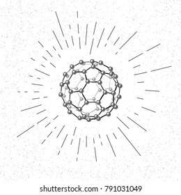 Hand Drawn Symbol of  Fullerene Molecule  - Doodle Vector Hatch Icon