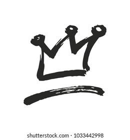 Hand drawn symbol of a stylized crown and a swoosh. Drawn with a black ink and a dry brush. Vector illustration isolated on white. Logo design. Grunge brush stroke.