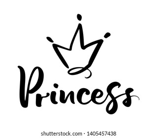 Hand drawn symbol of a stylized crown and calligraphic word Princess. Vector illustration isolated on white. Logo design