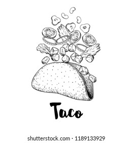 Hand drawn taco. Sketch style illustration of constructor taco. Flying  ingredients. Meat pieces, onion rings, tomato, cucumber, beans, tortilla. Best for restaurant menu. Fast food. Vector drawing.