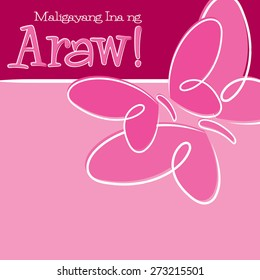 Hand Drawn Tagalog Happy Mother's Day card in vector format.
