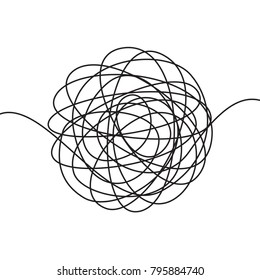Hand drawn tangle scrawl sketch or black line spherical abstract scribble shape. Vector tangled chaotic doodle circle drawing circles or thread clew knot isolated on white background