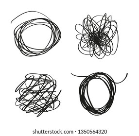 Hand drawn tangled shapes on white. Abstract backgrounds with array of lines. Stroke chaotic patterns. Black and white illustration. Sketchy elements for design