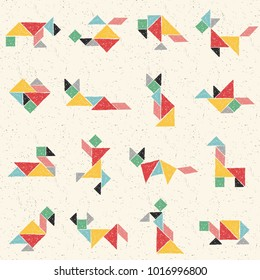 Hand drawn tangram set in vector. Collection of composite figures: dog, heart, cat, bird, giraffe, cow, turtle. Childish colorful seamless pattern. Geometric background.  Chinese puzzle game for kids