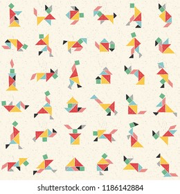 Hand drawn tangram set in vector. Collection of composite figures: human, rhinoceros, cat, turtle, horse, teapot. Childish colorful seamless pattern. Geometric background. Chinese puzzle game for kids