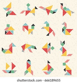 Hand drawn tangram set in vector. Collection of composite figures: animals, airplane, house, ship, rocket. Childish colorful seamless pattern. Geometric background. Chinese puzzle game for kids