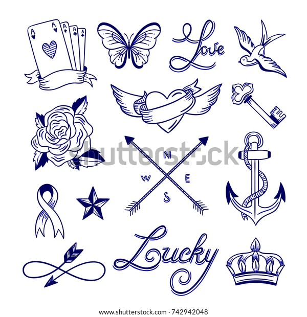 Hand Drawn Tattoo Sketches Tattoo Drawings Stock Vector