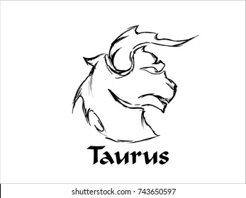 Hand Drawn Taurus Zodiac Sign in Sketch and line art
