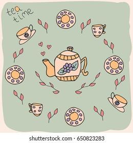 Hand drawn tea crockery in vintage style. Vector illustration.